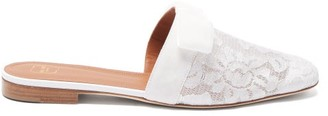 Malone Souliers Mae Lace And Velvet-bow Backless Loafers - Ivory