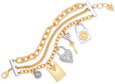GUESS Two-Tone Multi-Layer Pavé Charm Bracelet