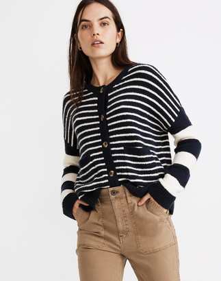 Madewell Stripe-Play Colburne Cardigan Sweater in Coziest Textured Yarn