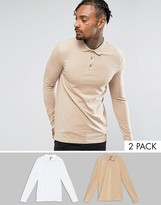 Asos Muscle Fit Long Sleeve Jersey Polo 2 Pack SAVE