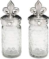 Arthur Court Fleur-de-Lis Honeycomb Glass Salt & Pepper Shaker Set