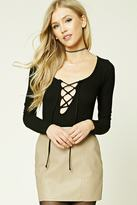 Forever 21 FOREVER 21+ Ribbed Knit Lace-Up Top