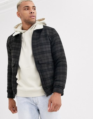 Bershka checked jacket with fleece collar in gray