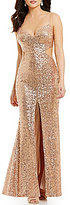 GB Social Sequin V-Neck Cutout Gown