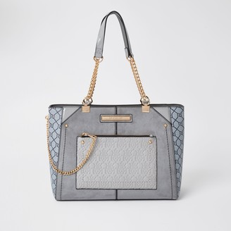 River Island Womens Grey RI monogram tote handbag