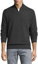 Neiman Marcus Cashmere Zip-Neck Sweater, Charcoal
