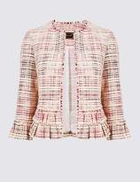 Marks and Spencer Cotton Blend Textured Ruffle Blazer