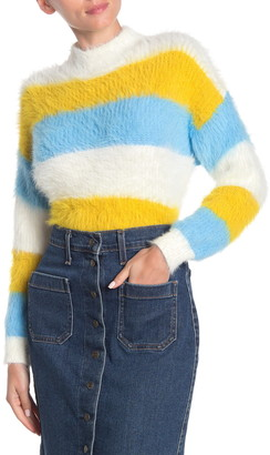 Woven Heart Striped Mock Neck Eyelash Knit Sweater