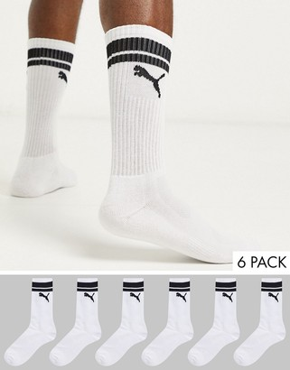 Puma 6 pack sport style socks with stripe in white
