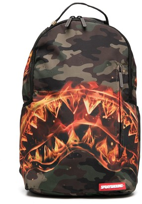 Sprayground Kid Fire Shark camouflage-print backpack
