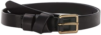 Madewell Leather Crisscross Skinny Belt (True Black) Women's Belts