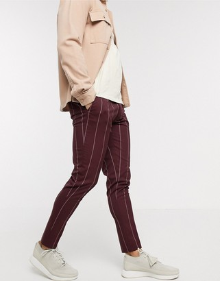 Asos DESIGN super skinny smart pants in burgundy pinstripe