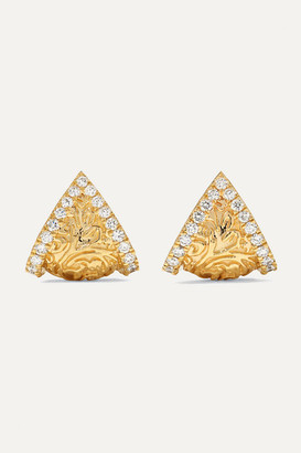 Larkspur & Hawk Emily's Garden Arbor Shield 14-karat Gold Diamond Earrings - one size