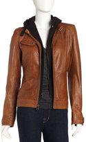 Andrew Marc New York Decoy Leather Hoodie Jacket, Walnut