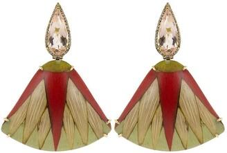 Silvia Furmanovich 18kt rose gold diamond morganite Marquetry Leaf earrings