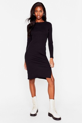 Nasty Gal Womens You'll Never Seam Me Again Ribbed Midi Dress - Black