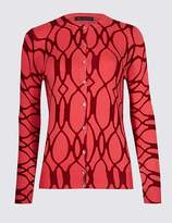 Marks and Spencer Geometric Print Round Neck Cardigan