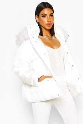 boohoo Sporty Faux Fur Trim Puffer