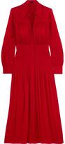 Joseph Josie Pleated Stretch-silk Crepe De Chine Midi Dress - Red