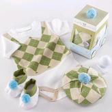 Baby Aspen Aspen Brands 3-Piece 'Sweet Tee' Golf Layette Set in Golf Cart Packaging - Soft Green (0-6 Months)