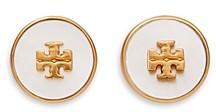 Tory Burch Kira Semi Precious Logo Circle Stud Earrings