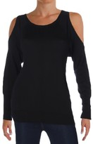 Vince Camuto Womens Petites Cold-Shoulder Ribbed Trim Pullover Sweater