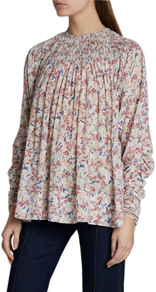 Chloé Flower Print Gathered Silk Georgette Top