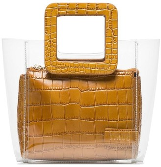 STAUD camel Shirley mini crocodile embossed leather PVC tote