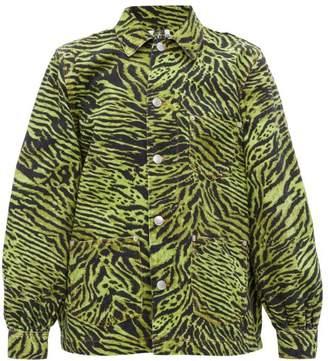 Ganni Tiger-print Denim Jacket - Womens - Green