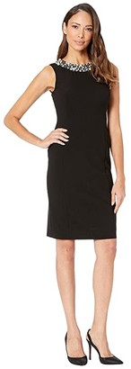 Calvin Klein Pearl Neck Sheath Dress (Black) Women's Dress
