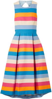 Carolina Herrera Tie-back Striped Cotton-blend Midi Dress