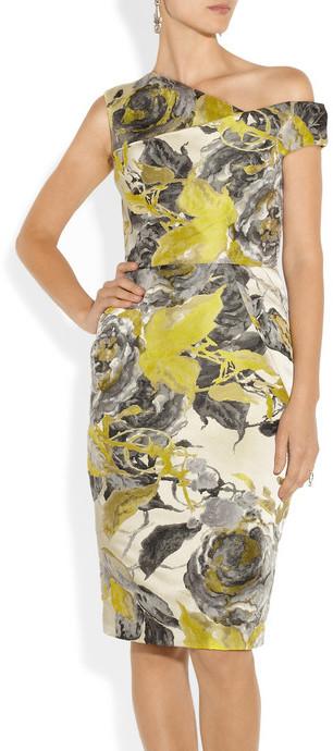 Lela Rose Asymmetric floral-jacquard dress