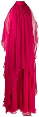 Alberta Ferretti Cold Shoulder Layered Dress