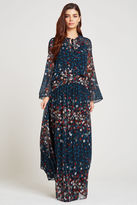 BCBGeneration Floral Flare-Sleeve Maxi Dress - Ocean Multi