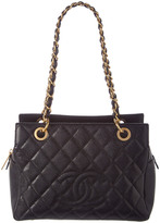 Chanel Black Quilted Caviar Leather Medium Timeless Cc Tote