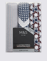 M&S Collection 3 Pack Handkerchiefs with Sanitized Finish®