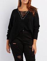 Charlotte Russe Plus Size Shaker Stitch Lace-Up Sweater