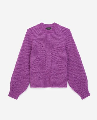 The Kooples Knit purple sweater with puffed sleeves