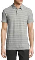 John Varvatos Mélange-Stripe Polo Shirt, Gray
