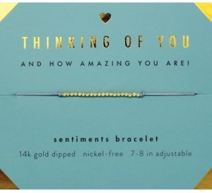 Lucky Feather Thinking of You Sentiments Bracelet