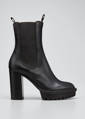 Gianvito Rossi Gored Leather Lug-Sole Platform Boots