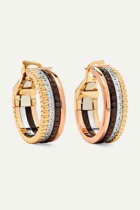 Boucheron Quatre Classique 18-karat Yellow, Rose And White Gold Diamond Hoop Earrings - one size