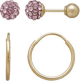 FINE JEWELRY Infinite Gold Kids 14K Yellow Gold Pink Crystal-Accent Stud and Hoop 2-pr. Earring Set