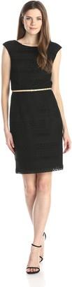 Ellen Tracy Women's Cap Sleeve Belted Crochet Dress