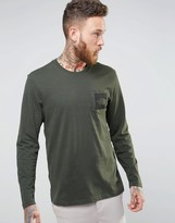 The North Face T-Shirt With Logo Pocket Print In Green