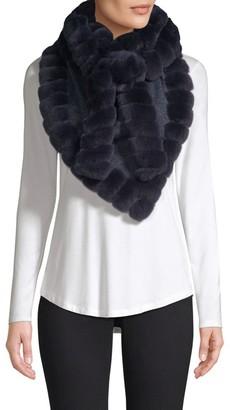 Glamour Puss Bohemian Rabbit Fur-Trim Cashmere Blend Knit Scarf