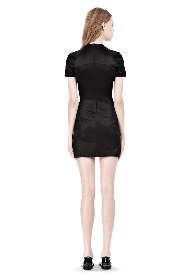 Alexander Wang Shiny Double Knit Mock Neck Scuba Dress