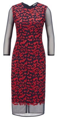 HUGO BOSS Houndstooth Jersey Dress With Tulle Underskirt And Sleeves - Patterned