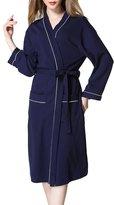 FLYCHEN Women's Waffle Robe Hotel Spa Bath Kimono Cotton