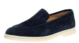 Loro Piana Blue Suede 'Summer Walk' Slip On Loafers Size 38.5